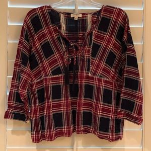 Women's plaid boho style shirt